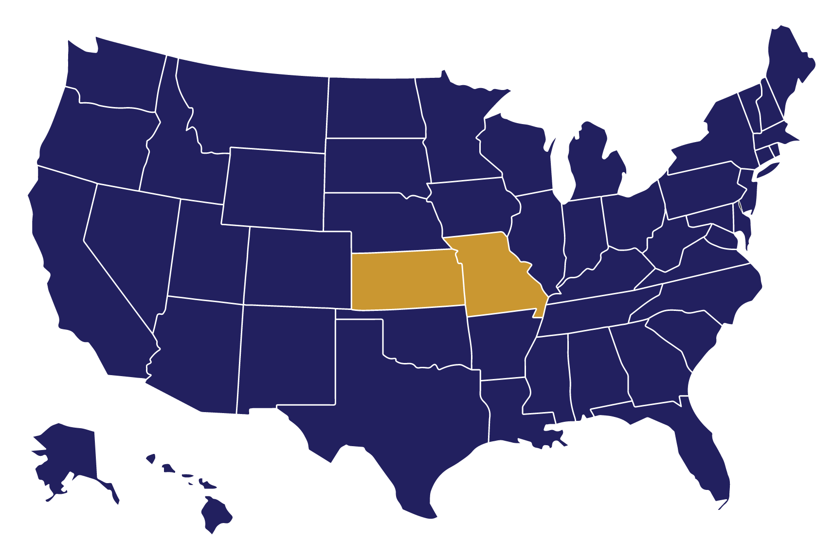 United States Map showing states that Omega Senior Living has community properties in which they manage.