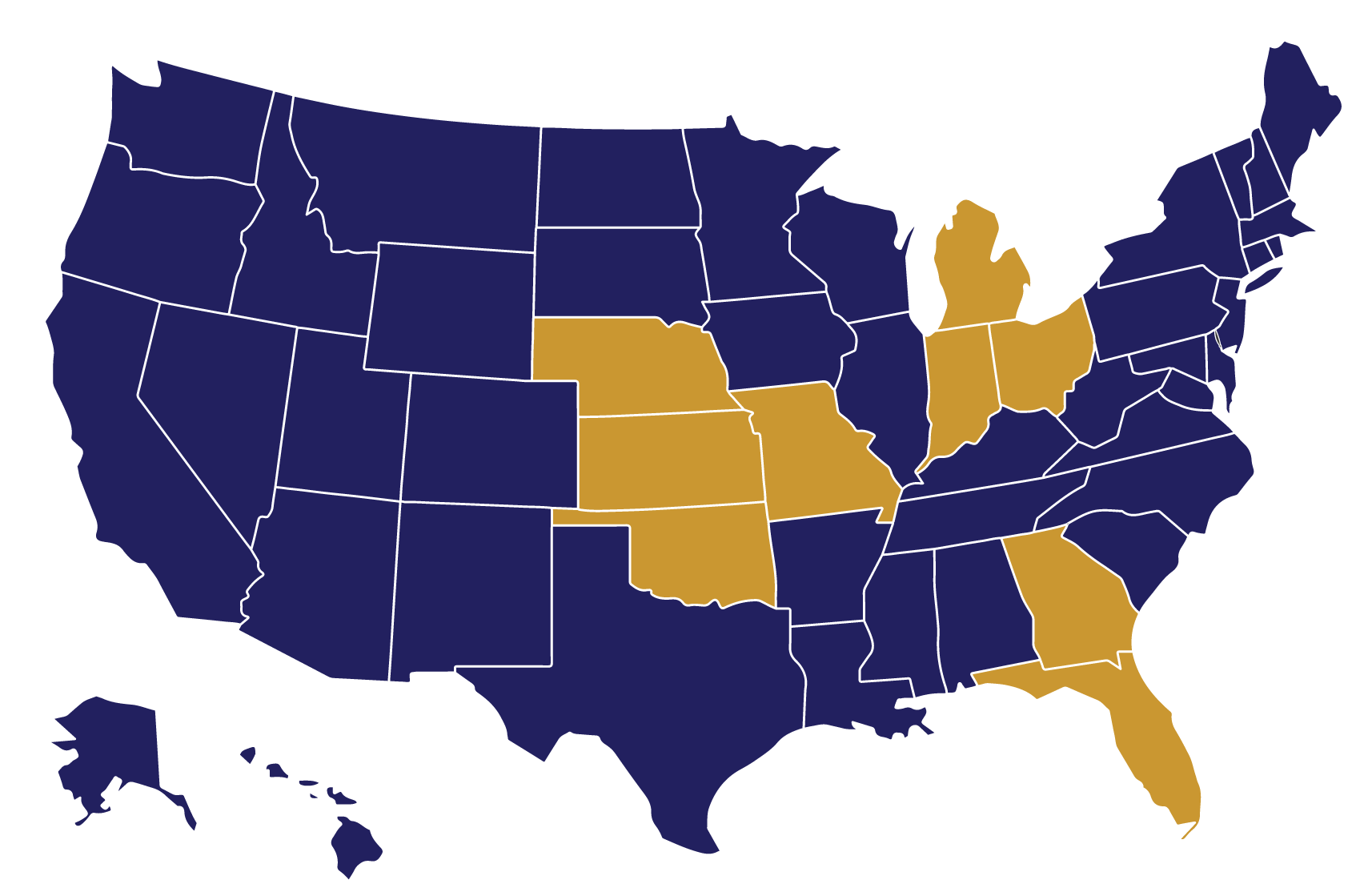 Map of states Omega Senior Living Manages Communities In or Has Consulted In
