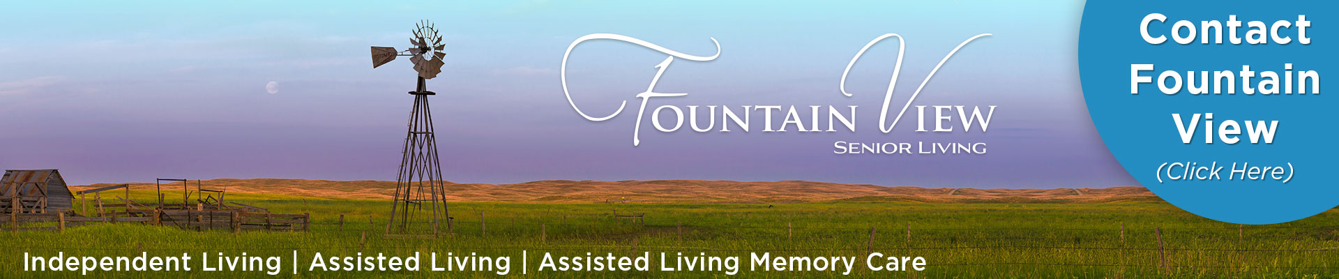 Contact Fountain View Senior Living - Click Here (Image of Nebraska landscape with windmill)