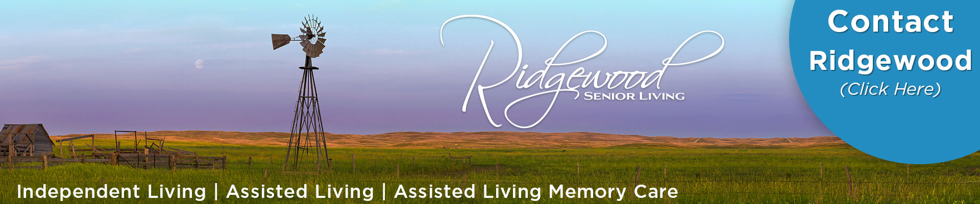 Contact Ridgewood Senior Living - Click Here (Image of Nebraska landscape with windmill)
